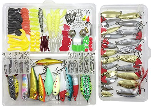 Price comparison product image Fishing Lure Lots 219Pcs Fishing Frogs Crankbait Kit Minnow Popper Crank Pencil VIB Lure Hard Spinner Baits Soft Plastic Lures Hooks Fishing Rod Alarm Bell with Tackle Box