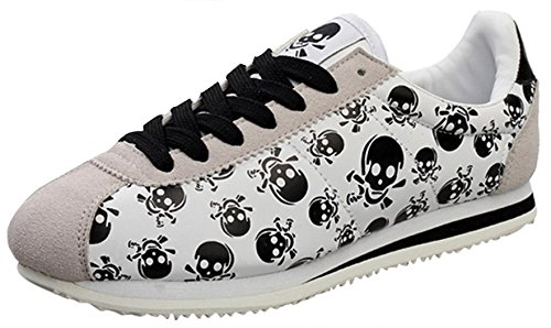 CAIHEE Men's Fashion Casual Confortable Leather Lace Up Running Shoes (8D(M)US, Gray)