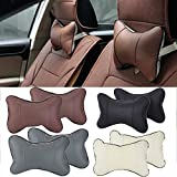 2Stk, Auto Nackenkissen Kopfkissen Auto Sitzbezug Rest Kissen Kopfstütze (Gray)