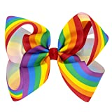 super1798 Kids Girls Rainbow Bowknot Hair Clip Large Grosgrain Ribbon Bow Hairpin Headwear (7)