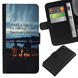 KLONGSHOP // Tirón de la caja Cartera de cuero con ranuras para tarjetas - Amigos Dios cita cristiana - Sony Xperia Z3 D6603 //