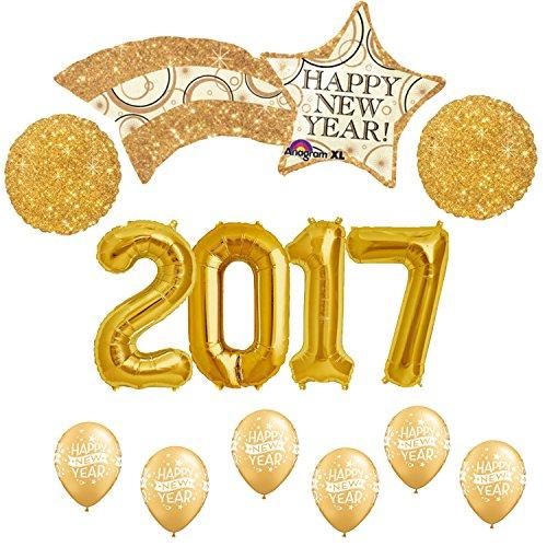 Happy New Year 2017 Gold Sparkle Balloon Kit