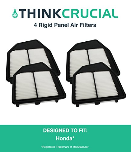 "4 Replacements for Honda Rigid Panel Vehicle Air Filter, Maximum Air Flow, 1.93"" x 8.67"" x 10.44"" in., Compatible With Part # A36309 & CA10467, by Think Crucial"