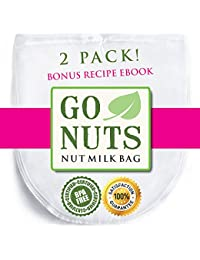Bargain 2-PACK Best Nut Milk Bag - Premium Quality by GoNuts - BPA-Free Nylon - Durable - Fine 100-Micron Mesh - 12