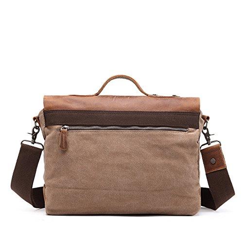 mefly los hombres y las mujeres elegante gran capacidad de las bolsas de Lienzo bolsas mochila bolsas de ordenador, gris oscuro marrón