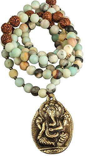 Tribe Azure Fair Trade Amazonite Beaded Necklace With Elephant Ganesha Pendant Strand Gemstone Women Boho Yoga Fashion ()