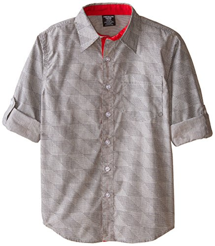 American Hawk Big Boys' Long Sleeve Woven Sport Shirt, Plaid Grey, 14 (Woven Shirt Sport)