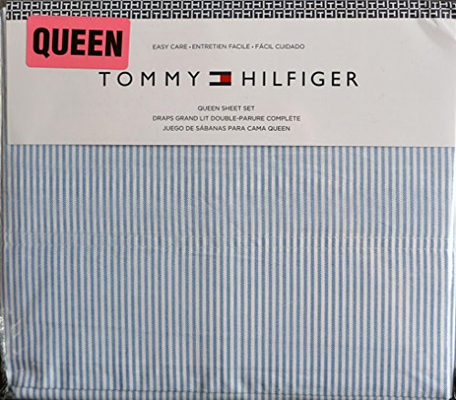Tommy Hilfiger 4 Piece Queen Size Sheet Set Ithaca Thin Blue White Oxford -
