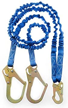 C5015-6/' Single Leg Internal Shock Absorbing Lanyard with 1 Rebar Hook and 1 Steel Snap Hook OSHA//ANSI Compliant