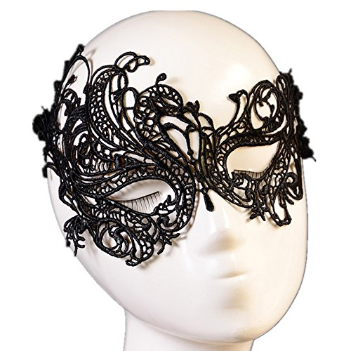 Lisngtool Eye Mask for Masquerade Ball Halloween Party Fancy Costume (Black) (Peacock Eye Mask)