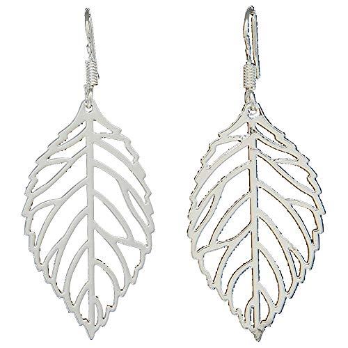 NiceWave 2 PCS 925 Sterling Silver Floral 3D Filigree Hollow Leaf Hook Drop Dangle Earrings for Women Girls 1 Pair Beautiful jewelry ()