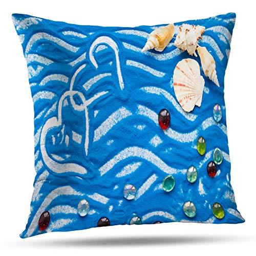 Kayel Interior Decoration Pillowcase Hearts Blue Sand and Sea Shells Travel Flat Adventure Beach Bedroom Sofa Iiving Room Cushion Pillowcase Home Decoration 18 x 18 Inches