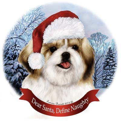 Dog in Santa Hat Porcelain Hanging Howliday Ornament (Shih Tzu (Gold and White))