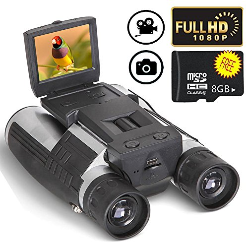 Digital Binoculars Camera Telescope Camera 2 LCD Display 12x32 5MP Video Photo Recorder with Free 8GB Micro SD Card for Watching Bird Football Game Concert