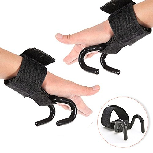 Ireav Weight Lifting Hook Grip Straps Gloves Gym Fitness Wrist Wrap Support Strength Training Straps fit Olympic and Standard Bar (Black,1 Pair) by Ireav