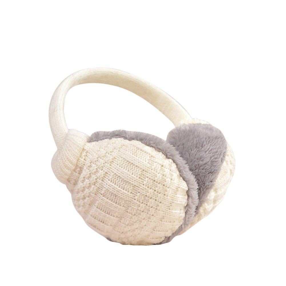 Ear muff Unisex crocheted ear warmers adjustable Winter Fleece warm earmuffs (White)