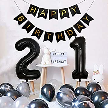 DIvine 21st Birthday Decorations 21 Party Supplies With Happy Banner And 40 Inch
