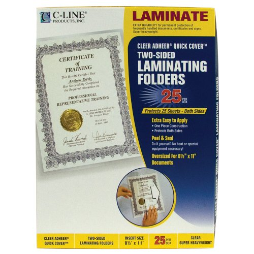 C-Line Super Heavyweight Clear Adheer Quick Cover Laminating Pockets, 12-3/8 x 9-3/8 Inches, 25 per Box (65187) (Covers Certificates)