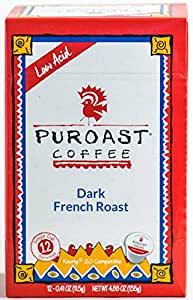 Puroast Low Acid Coffee French Roast Single Serve Coffee, 2.0 Keurig Compatible, 12 Count