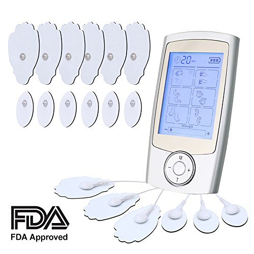 loverbeby Rechargeable Tens Unit Muscle Stimulator Electronic Pulse Massager with 16 Modes and 12 Pads Portable Smart Electro Pain relief Machine -