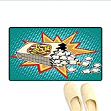 Door-mat Halftone Background with Retro Style Colorful Popcorn Design Cinema Snacks Bath Mats for Floors Multicolor 16'x24'
