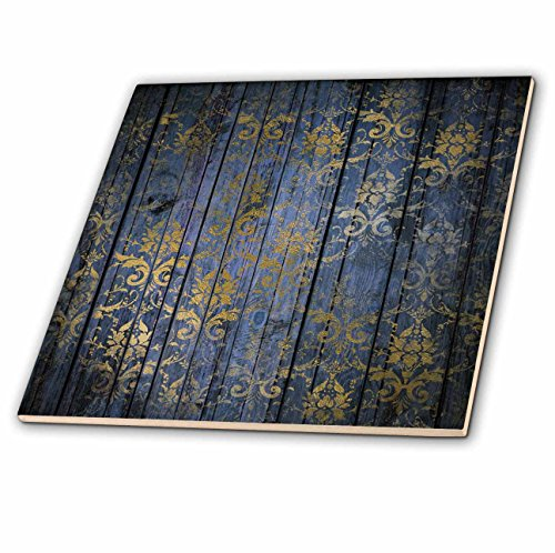 3dRose Anne Marie Baugh - Patterns - Rustic Blue Faux Printed Wood With A Faux Gold Damask Overlay - 8 Inch Glass Tile (ct_283347_7) ()