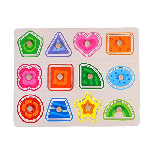 Wooden Puzzle Intelligence Developmental Toy Toddlers Animal Alphabets Jigsaw Children Educational Preschoolers Kids Brain Training Toys Christmas Holiday Festival Gifts (D)