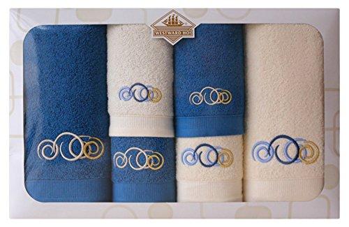 Westward Ho! Sphere Embroidery Box Towel, Cream/Royal by Westward Ho!