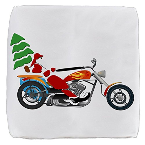18 Inch 6-Sided Cube Ottoman Holiday Biker Santa on his Motorcycle/Chopper