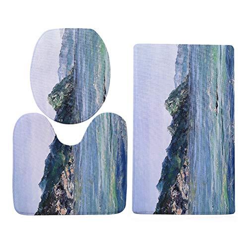 AXIU Bathroom Mat Set 3 Piece Set Toilet Seat Cover Contour Carpet Absorbent Bath Mat Set Floor mat (Color : Color2) ()