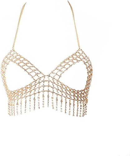 Women Body Chain Harness Crystal Rhinestone Bra Chest Bikini Beach Jewelry