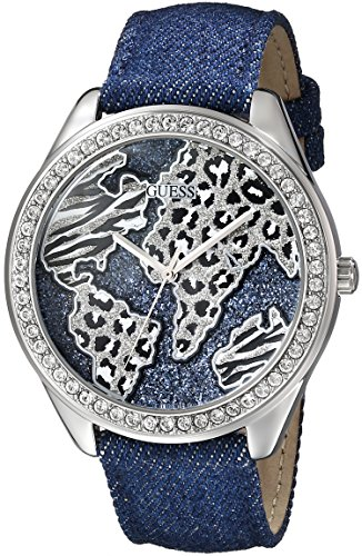 GUESS-Womens-U0504L1-Iconic-Blue-Denim-Silver-Tone-Watch-with-Wold-Map