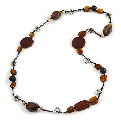 Avalaya Long Brown Wooden Ring with Black Cotton Cord Necklace 90cm L
