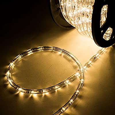 Sliverylake 45M 150FT 1620 LEDS Rope Light Home In/Outdoor Christmas Decorative Party Lighting (warm white)