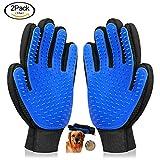 Koeson Pet Grooming Glove - Gentle Pet Deshedding Brush Gloves - Efficient Pet Hair Remover - Pet Massage Mitt for Dog & Cat with Long & Short Fur - 1 Pair (Blue)