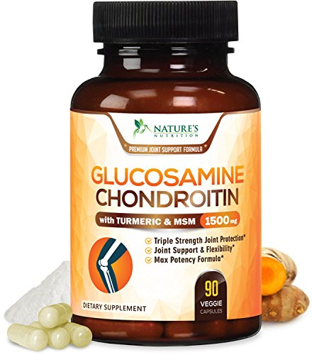 Glucosamine Chondroitin with MSM Triple Strength 1500mg - with Turmeric MSM Boswellia - Joint Relief Supplement for Your Back, Hip, Knees and Hands. Non-GMO by Nature's Nutrition - 90 ()