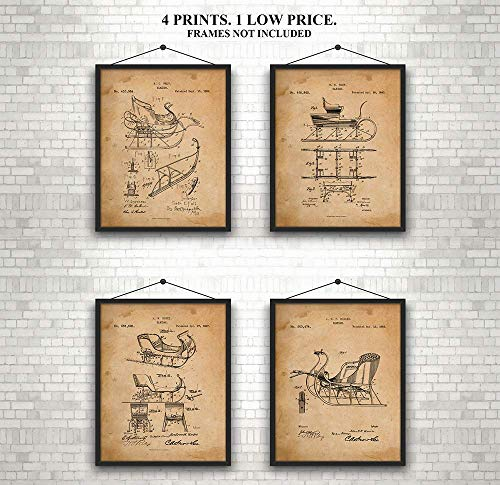 Sleigh - Patent Prints - Set of 4 Antique Sleighs -1800's - Makes a Unique Gift - Art Wall ()