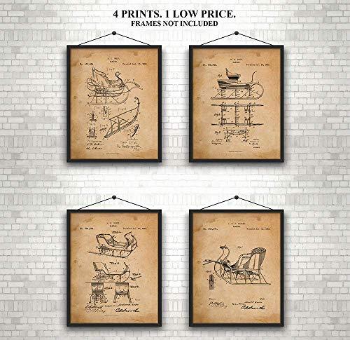 Sleigh - Patent Prints - Set of