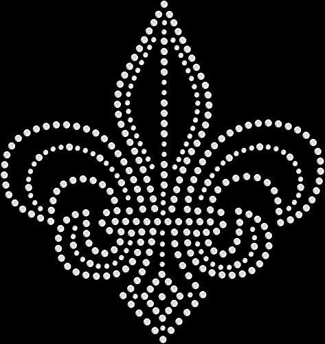 Large Crystal Lis Fleur De - Rhinestone Bling Sparkle Iron On Transfer DIY Fleur de Lis Crystal White