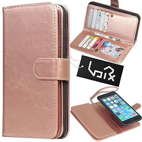 Urvoix For Apple iPhone 6 Plus / 6S Plus (5.5''), Wallet Leather Flip Card Holder Case, 2 in 1 Detachable Magnetic Back Cover iPhone6 Plus / iPhone6S Plus (NOT for iphone6) (Rose (Iphone6 Plus Case Card Holder)