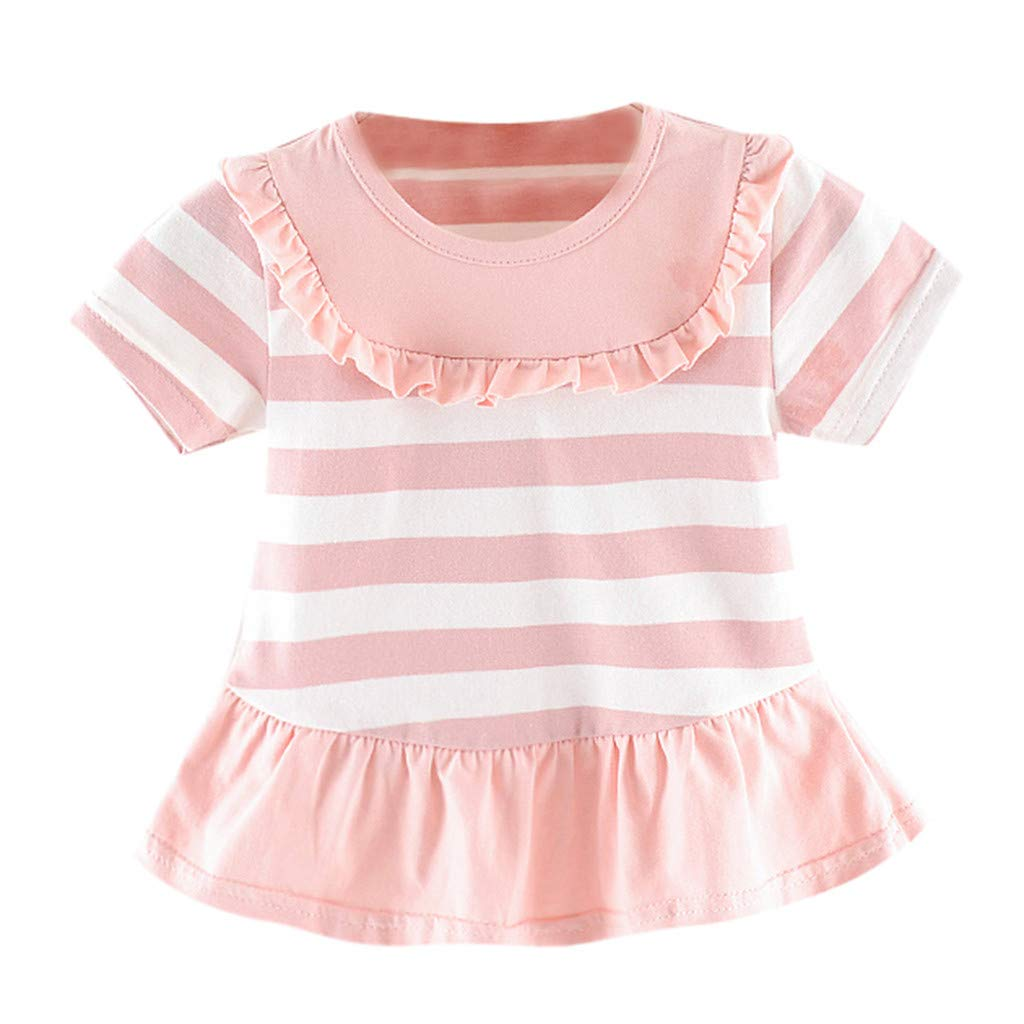 Baby Girls Dress,Toddler Kid Baby Girl Striped Printed Party Casual Princess Dress Clothing,Baby Girls' One-Piece Rompers, Pink