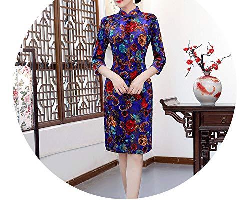 タイル土砂降り公爵夫人チャイナドレスベルベットの襟の長いセクションスリムなドレス大きなサイズのドレス,5番花,推奨XXL115-130 kg