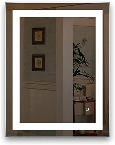HAUSCHEN 32 x 24 inch LED Lighted Bathroom Wall Mounted Mirror