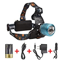 Boruit LED Headlamp Zoomable Waterproof Headlight with Rechargeable Batteries for Running Camping