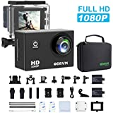 Action Camera HD 1080P Underwater Sports Camera 12MP Waterproof Camera Full Camcorder with 2 x 1050mAh Batteries, Portable Handbag and Outdoor Accessories Kits for Bike, helmet, drone, kids, ski