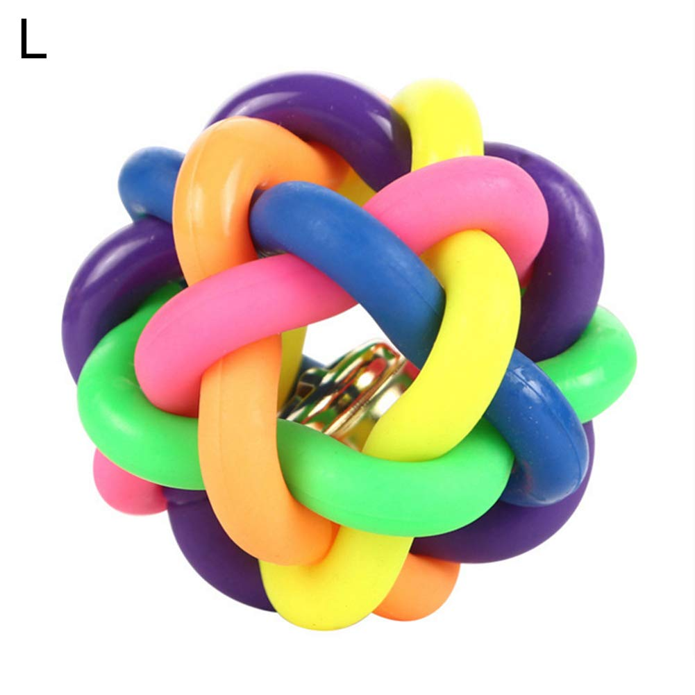 KeKeandYaoYao Kitten Handmade Bells Bouncy Ball Molar Chewing Interactive Play Toy for Pet Dogs Cats Multicolor M