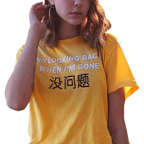 Female Yellow T-shirt (LOOKFACE Summer Fashion Women Cute Girls Tops Casual T Shirt Yellow X-Large)