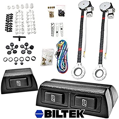 Biltek® FULL COMPLETE CAR TRUCK 2 WINDOW AUTOMATIC POWER KIT WITH 3 SWITCHES KIT