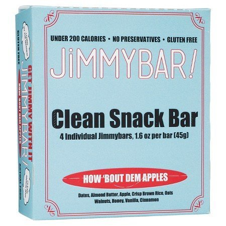 JiMMYBAR Clean Healthy Snack Bars, Natural & Gluten Free, No Preservatives or Added Sugars, Dried Apple (How Bout Dem Apples), Pack of 4