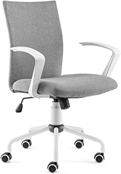 Amazon Com Dj Wang Grey Desk Chair Mordern Comfort White Swivel Fabric Home Office Task Chair With Arms And Adjustable Height Suitable For Computer Working And Meeting And Reception Place Furniture Decor